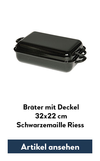 Bratpfanne mit Deckel 32x22cm Riess Schwarzemaille