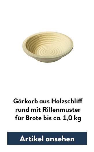 Holzsschliff-Gärkorb (Simperl) mit Rillenmuster, rund für 1000g Teig