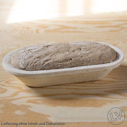 Roggenmischbrot in Gärkorb aus Holzschliff, lang, oval